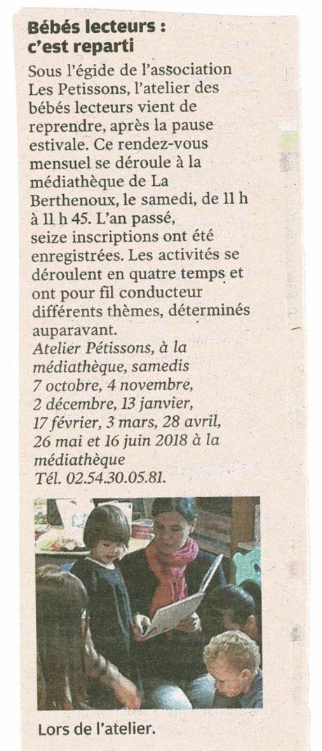 Nouvelle République_atelier bébés lecteurs_290917